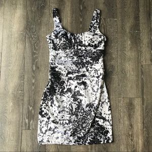 Bisou Bisou Black And White Floral and Lace Dress